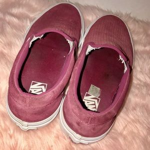 Vans Shoes - Vans Rose pink velvet slip on sneakers